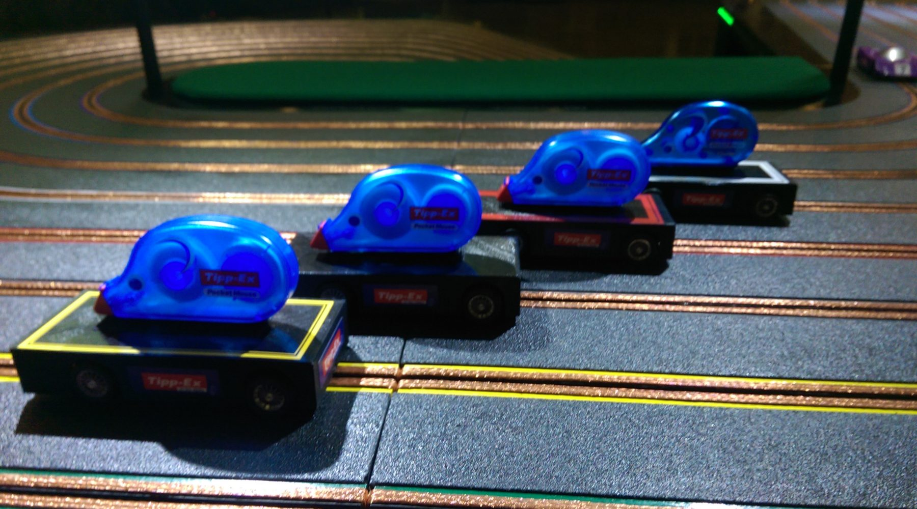 miniracing.com Giant Scalextric 8 lane track with custom tipex mouse cars