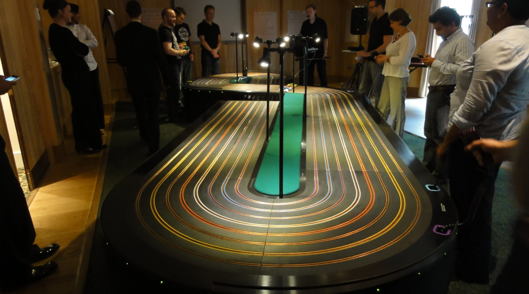 miniracing.com Giant Scalextric 8 lane track for hire set up at an exhibition event