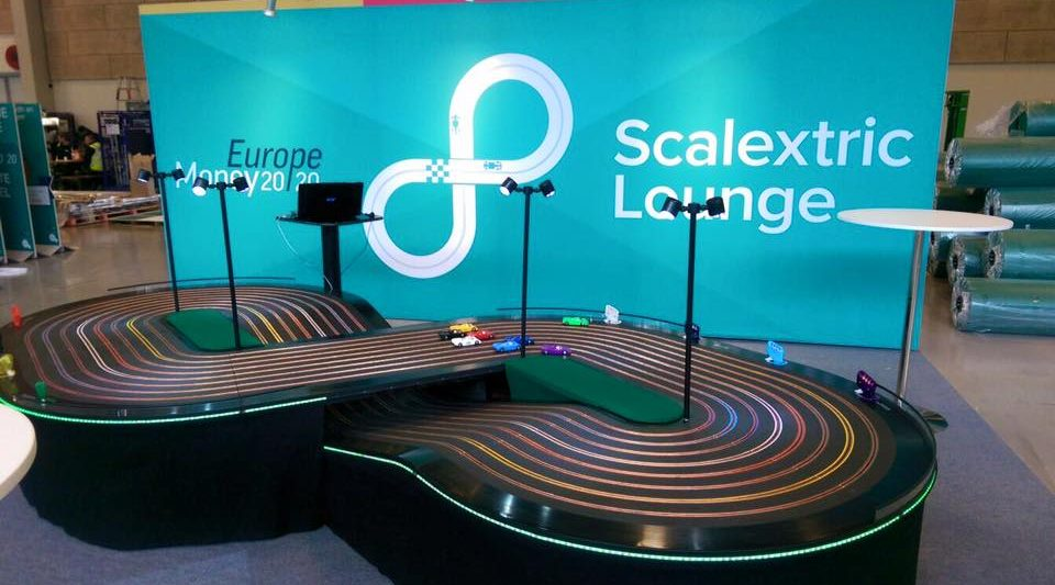miniracing.com Giant Scalextric 8 lane track for hire being played at an exhibition event